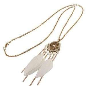 AZTEC INSPIRED  BEADED FEATHER SWEATER NECKLACE